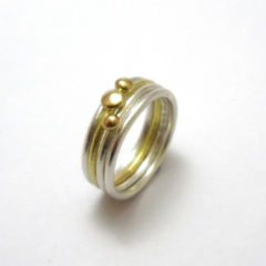 18ct Yellow Gold and Silver Seaside Ring