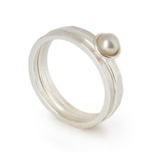 Flotsam Stacking Rings – White Pearl x3
