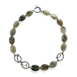 Blackened Silver, 18ct Gold, Moss Agate & Pyrite