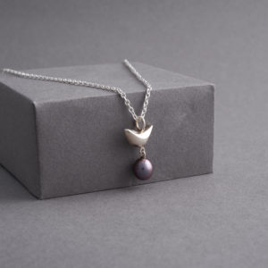 Riverside Bird and Black Pearl Pendant