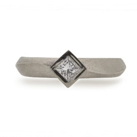 Wave Engagement Ring Princess Cut Diamond in Matt Palladium