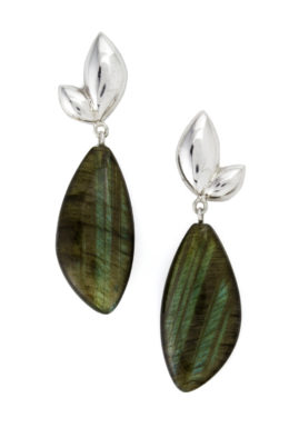Leaf Silver and Labradorite Earrings