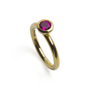 Tidal Yellow Gold & Pink Tourmaline Ring
