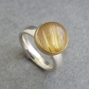 Rutilated Quartz, Silver & Gold Ring