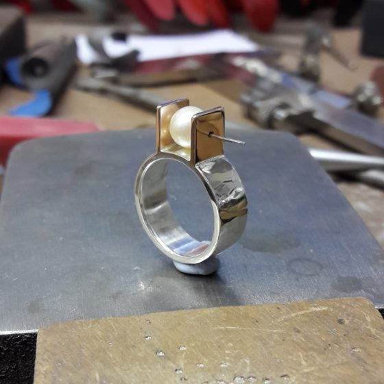 Polished ring, ready for the pearl to be set