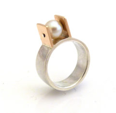 Silver, 9ct Red Gold & Inherited Pearl Ring