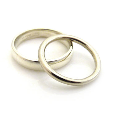 Jen and Steven's 9ct & 14ct White Gold Wedding Rings